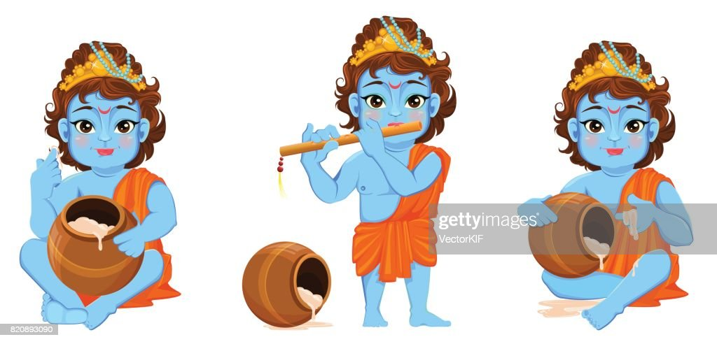 Happy Janmashtami. Celebrating birth of Krishna. Boy with flute and a pot. Traditional Indian fest. Vector illustration on abstract background. Set