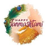 Happy Janmashtami Indian fest decoration card.