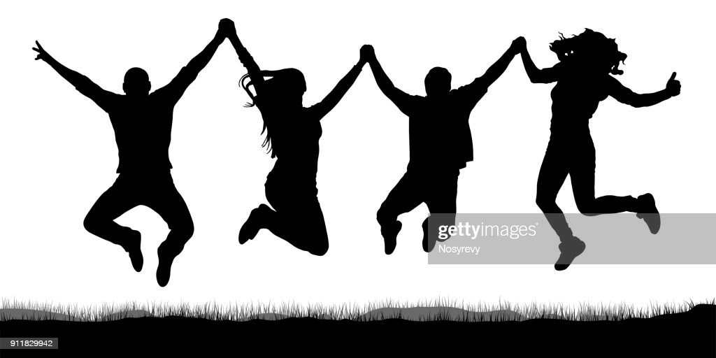 Happy jumping, people friends, holding hands silhouette