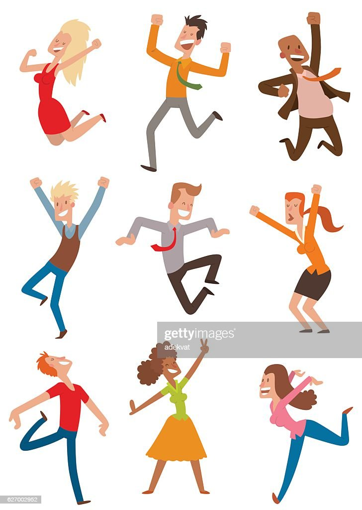 Happy jumping people vector set.