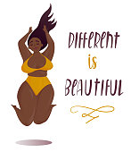 Happy jumping plus size girl Body positive concept
