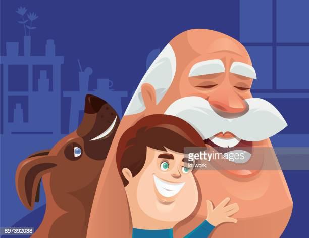 abuelo abrazando niños felices