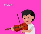 Happy kid playing on violin