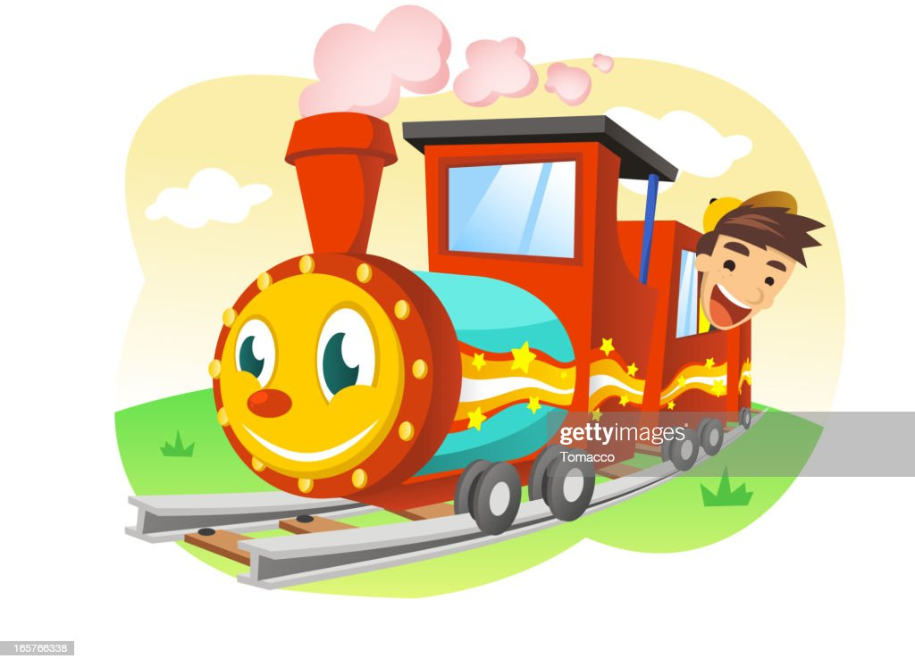 Happy Kid riding a Toy Train