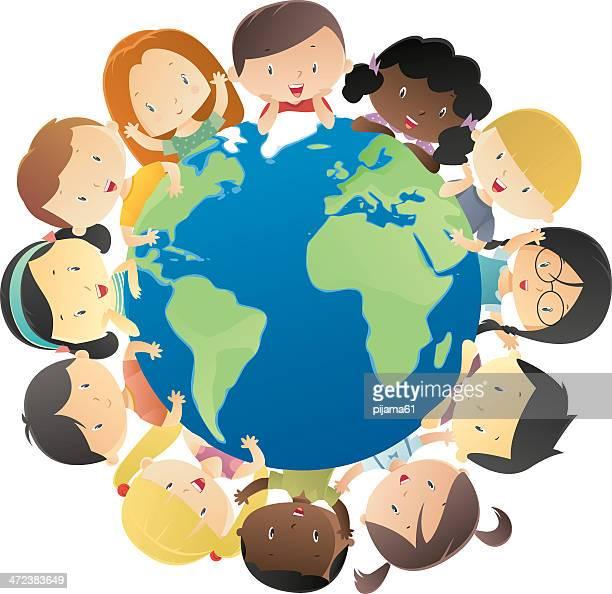 ilustraciones, imágenes clip art, dibujos animados e iconos de stock de feliz niños en todo el mundo - diversidad cultural