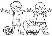 Happy kids, boy and girl with toys, coloring book