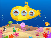 Happy kids cartoon in submarine