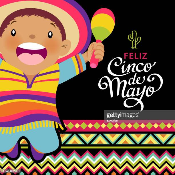 happy kids celebrating cinco de mayo - calligraphy stock illustrations
