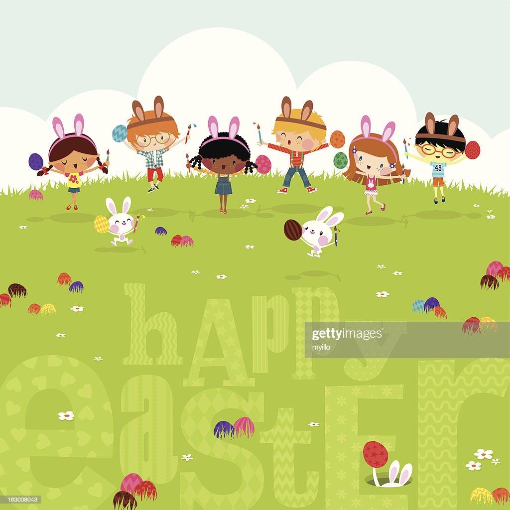 Happy kids easter eggs play bunny cute illustration vector myillo : Vector Art