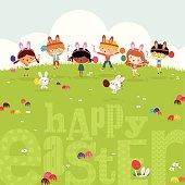 Happy kids easter eggs play bunny cute illustration vector myillo