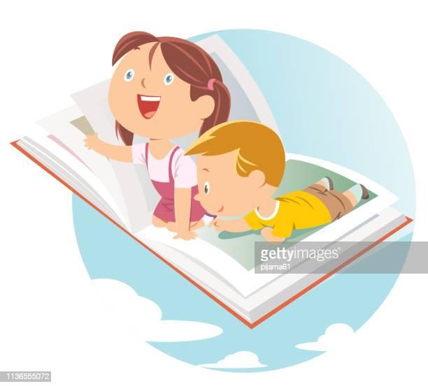ilustraciones, imágenes clip art, dibujos animados e iconos de stock de niños felices volando en gran libro abierto - libros volando