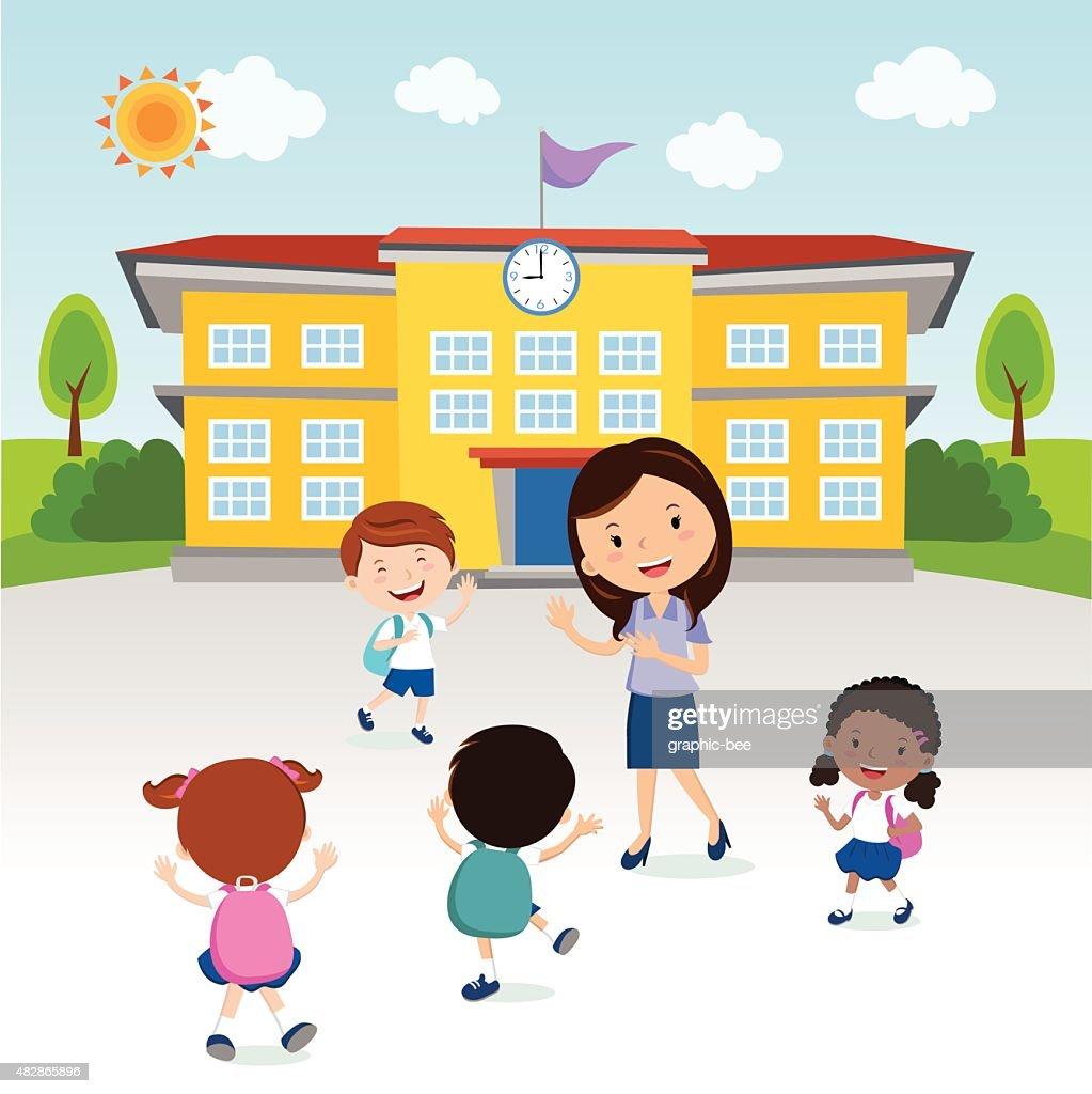 Happy kids go to school