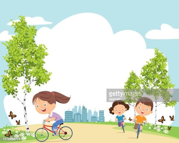 ilustrações, clipart, desenhos animados e ícones de crianças felizes em bicicletas - exterior