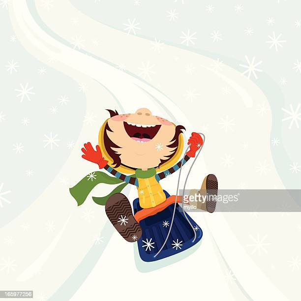happy kids on the sled winter snow illustration vector - tobogganing stock illustrations, clip art, cartoons, & icons