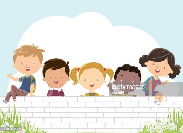 happy kids on the white wall - 8 9 years stock illustrations, clip art, cartoons, & icons