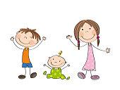 Happy kids - original hand drawn illustration of three happy children - boy, girl and a little baby