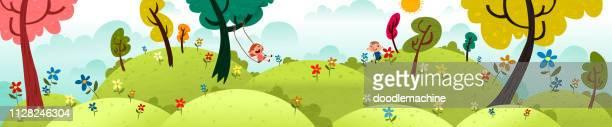 ilustraciones, imágenes clip art, dibujos animados e iconos de stock de niños felices fuera de - naturaleza