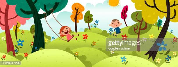 happy kids outside - natural parkland stock illustrations, clip art, cartoons, & icons