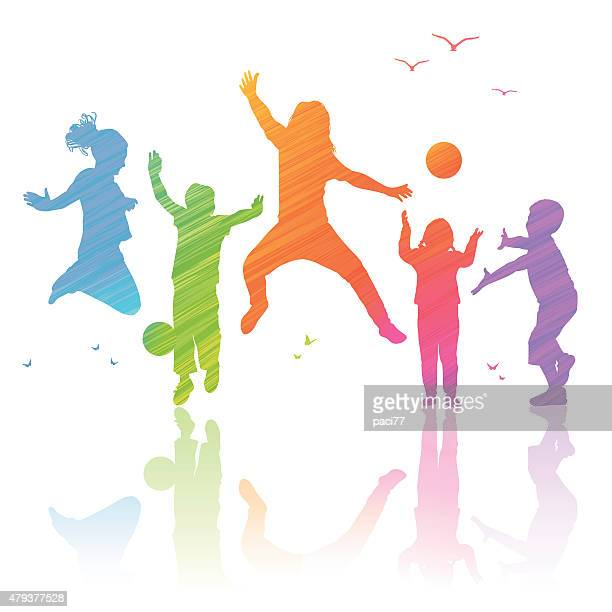 Happy Kids Playing, illustration with colored silhouettes.