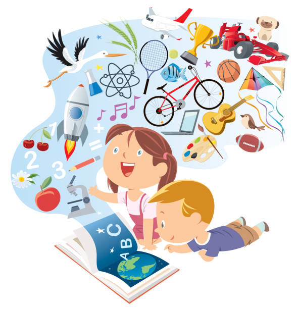 happy kids reading storybook - fantasy stock illustrations