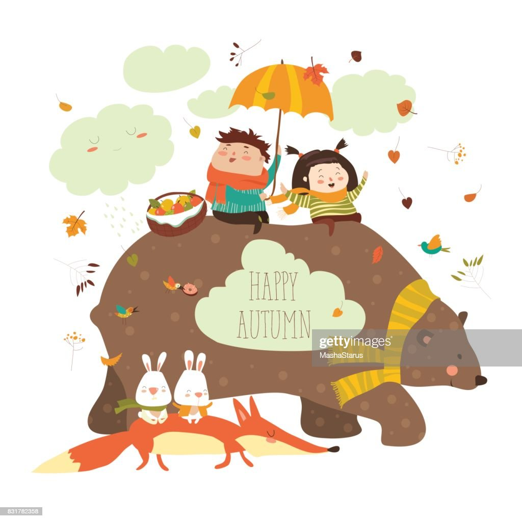 Happy kids with bear and fox