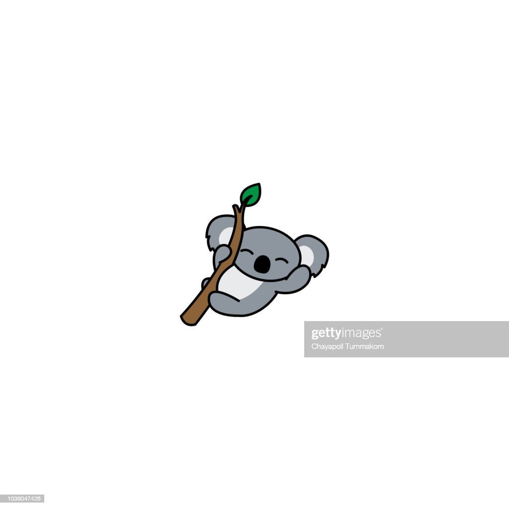 Happy koala on a branch cartoon icon, vector illustration