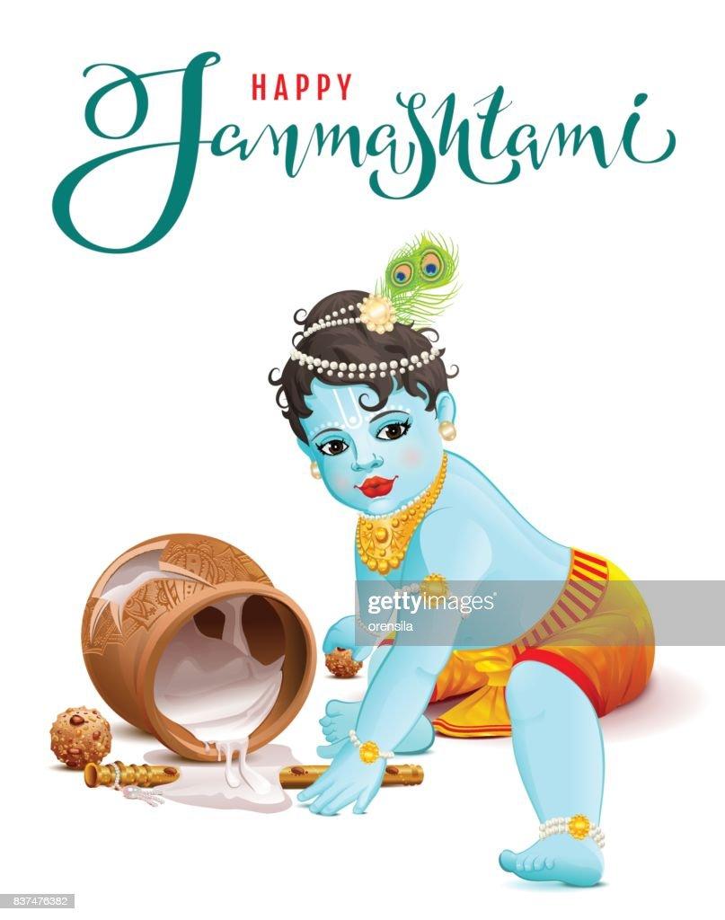 Happy Krishna Janmashtami. Blue boy god broke pot with yogurt
