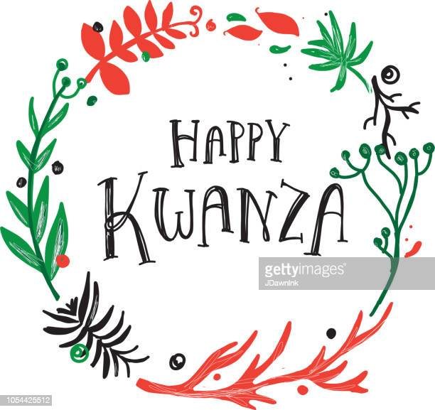 happy kwanza greeting design with hand drawn text and wreath with variety of branches - kwanzaa stock illustrations, clip art, cartoons, & icons