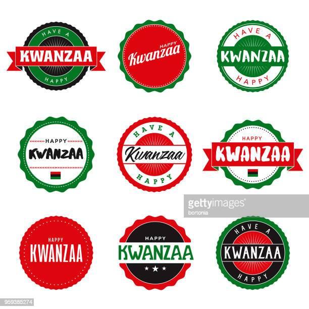 happy kwanzaa icon set - kwanzaa stock illustrations, clip art, cartoons, & icons