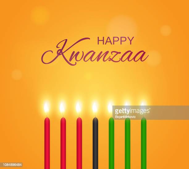happy kwanzaa poster with candles. vector illustration. - kwanzaa stock illustrations, clip art, cartoons, & icons