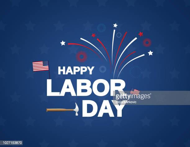 happy labor day background with firework. vector illustration. - labour day stock illustrations