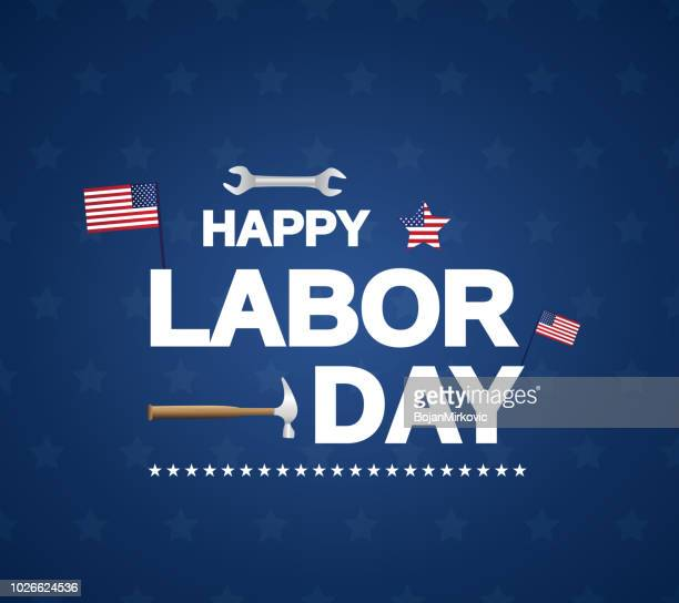 happy labor day blue background with usa, wrench and hammer. vector illustration. - labour day stock illustrations