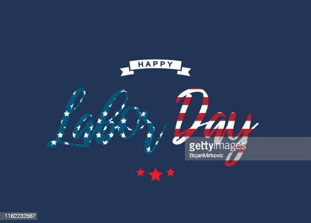 happy labor day blue card. text as usa flag. vector - labour day stock illustrations