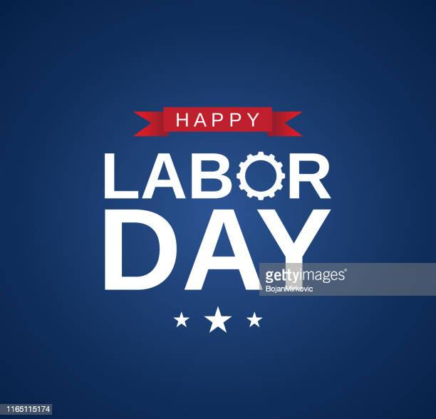 happy labor day card, banner on blue background. vector - labour day stock illustrations