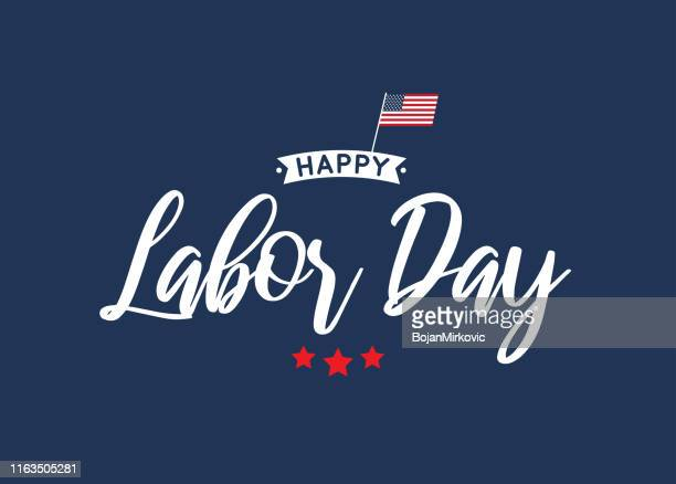 happy labor day lettering blue card. vector - labour day stock illustrations