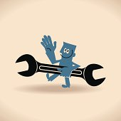 Happy labor day! Man Holding Spanner
