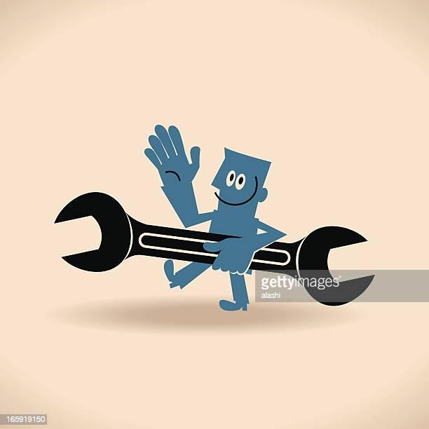 ilustrações, clipart, desenhos animados e ícones de feliz dia do trabalho! homem segurando kona - estereótipo de classe trabalhadora