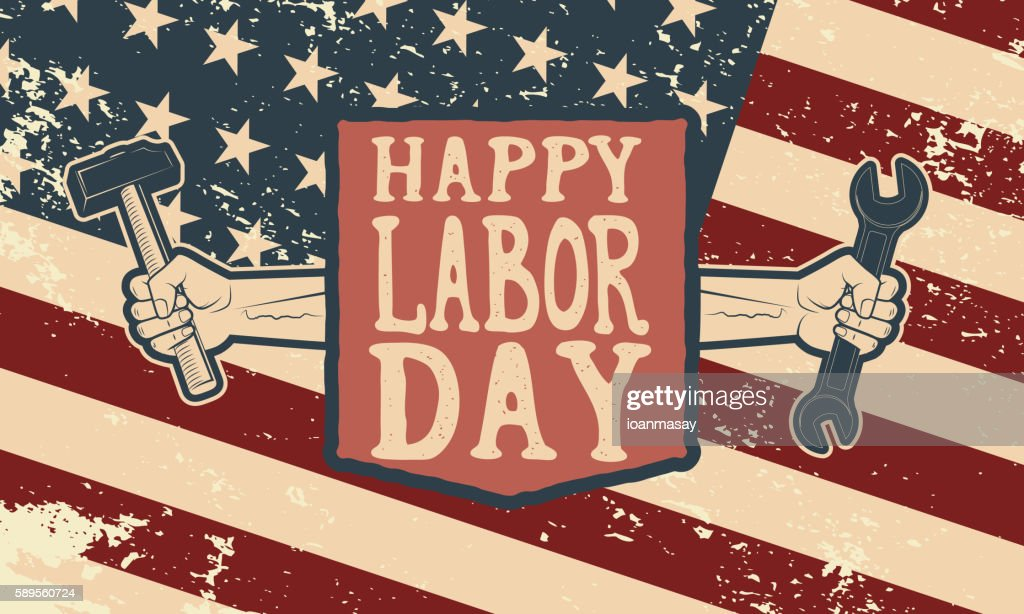 Happy labor day poster template. Flag of USA on grunge