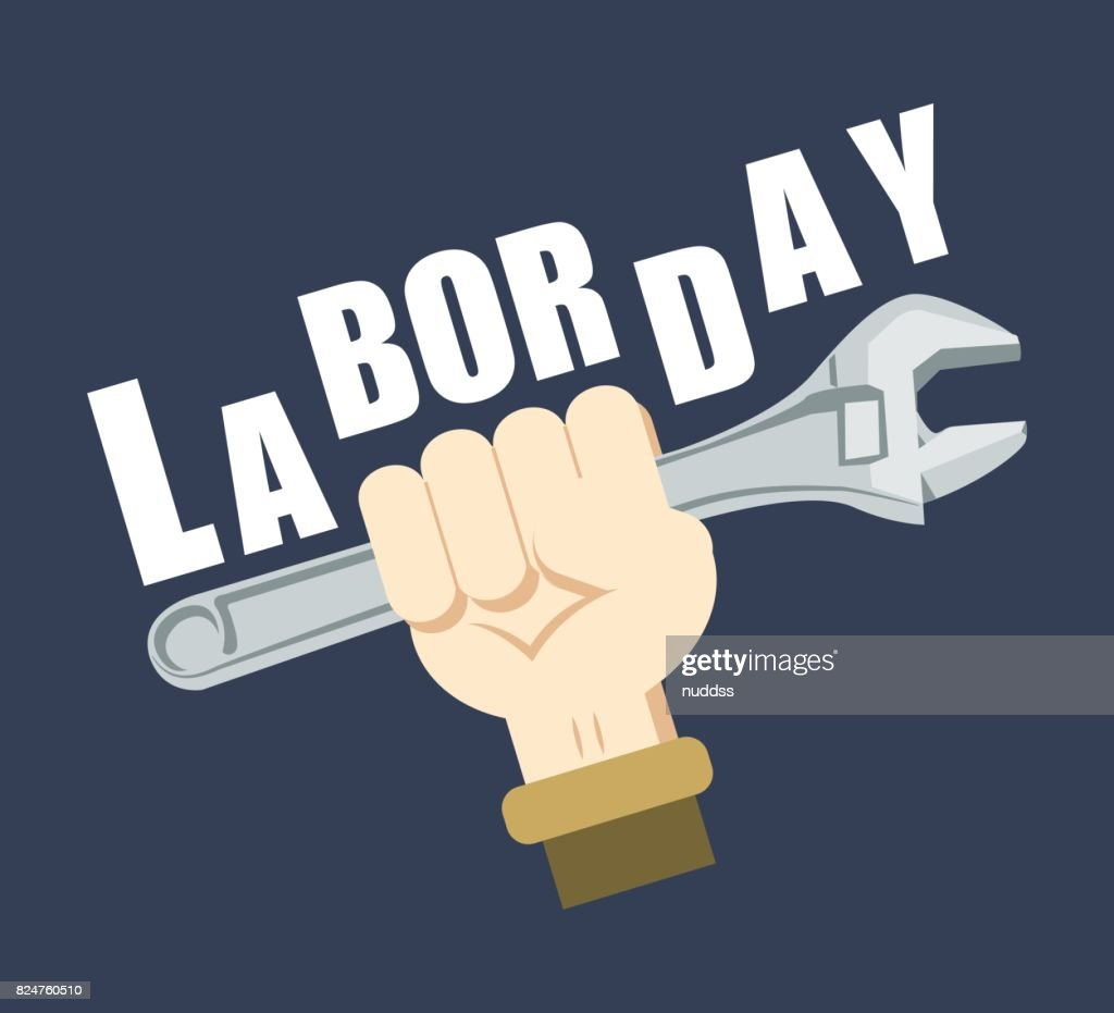 Happy labor day poster, the electrician's hand holding a wrench and put up in the air with blue background, flat design cartoon vector illustration. American holiday concept.