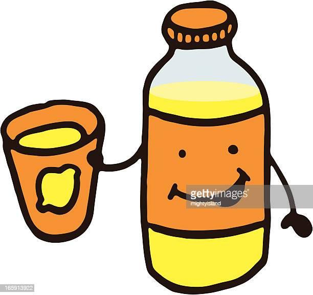 happy lemonade bottle character - fruit juice stock illustrations, clip art, cartoons, & icons