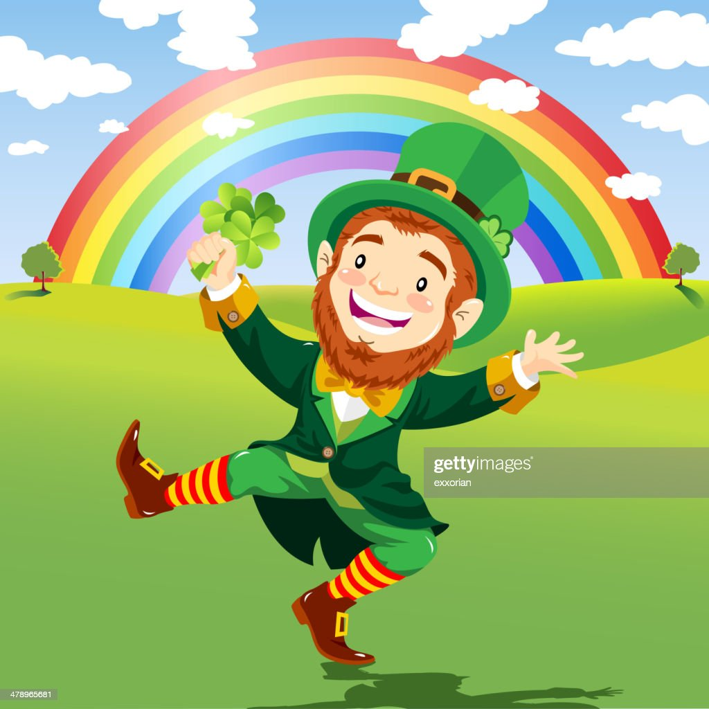 Happy Leprechaun in a Nature Background with Rainbow