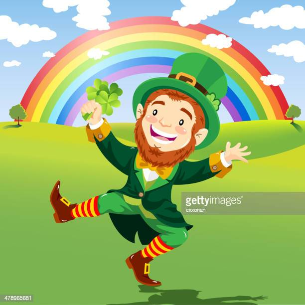 happy leprechaun in a nature background with rainbow - st. patrick's day stock illustrations, clip art, cartoons, & icons