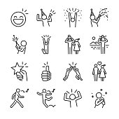 Happy line icon set. Included the icons as fun, enjoy, party, good mood, celebrate, success and more.