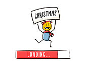 Happy little character happily running with christmas message above his head and a loading bar above him. Christmas is coming concept. Vector doodle illustration