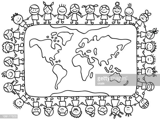 happy little children holding hands around world map cartoon illustration