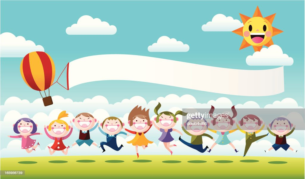 Happy Little Children Jumping : stock illustration