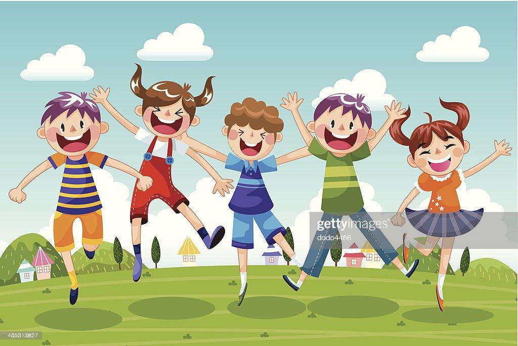 Happy Little Children Jumping
