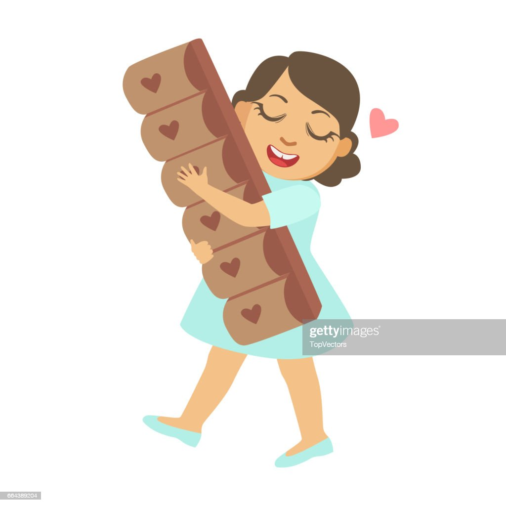 Happy little girl carring a big chocolate bar, a colorful character