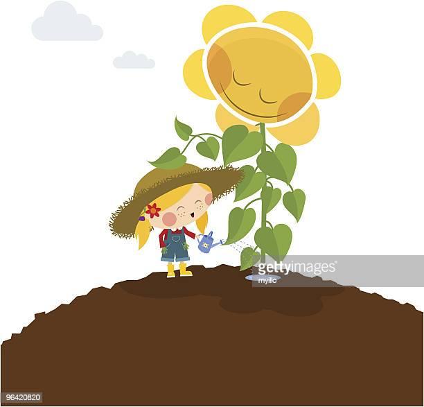 happy little girl with sunflower. love gardening - landscape gardener stock illustrations, clip art, cartoons, & icons