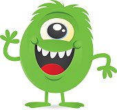 happy little green one-eyed monster alien character